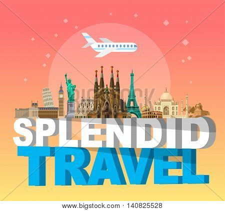 High quality, detailed most famous World landmarks. Travel vector