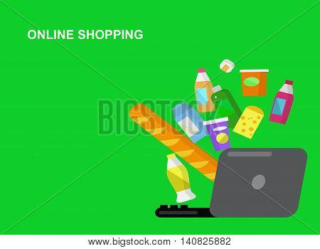 Concept illustration for Shop. Supermarket banner flat set with online purchase buying elements. Healthy eating and eco food