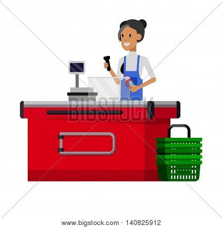 Concept illustration for Shop. Vector character woman cashier in supermarket. Healthy eating and eco food