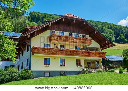 alpine guest house in summer, Austria