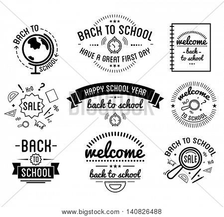 Back to School typography Designs Label Set. Vector Set.