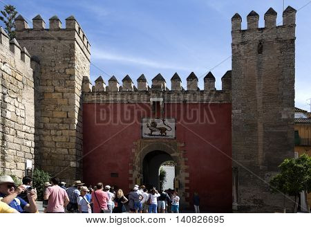 on September 13, 2015 in Seville, SpainTourists in the queue to enter and visit the fabulous Alcazar of Seville on September 13, 2015 in Seville, Spain
