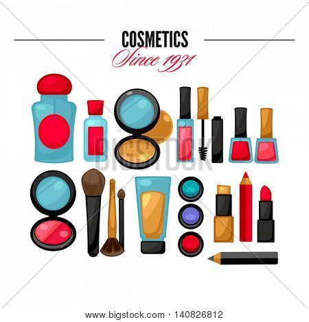 Cosmetic tools beauty products. Facial Makeup. Glamour set. Vector Illustration.