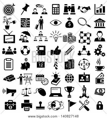 business icon set, team, work, money, management
