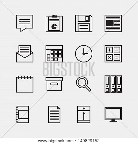 Set of business office work outline icons design isolated vector illustration
