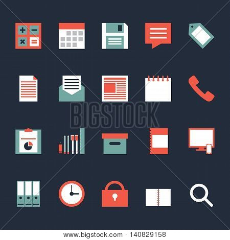 Set of business office work icons flat design isolated vector illustration