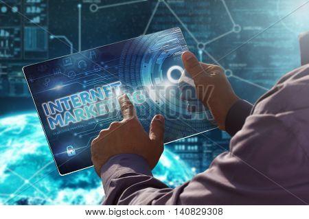 Internet. Business. Technology Concept.businessman Presses A Button Internet Marketing On The Virtua
