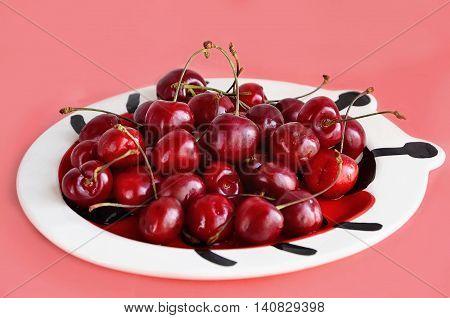 Full plate Cherry on a ceramic plateof cherries