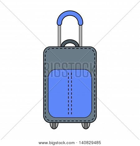 Suitcase isolated. Color flat icon and object. Fashion accessory.