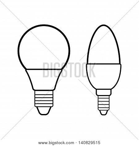 Led bulbs. Flat linear icon light bulb. Energy saving lamp. Vector illustration