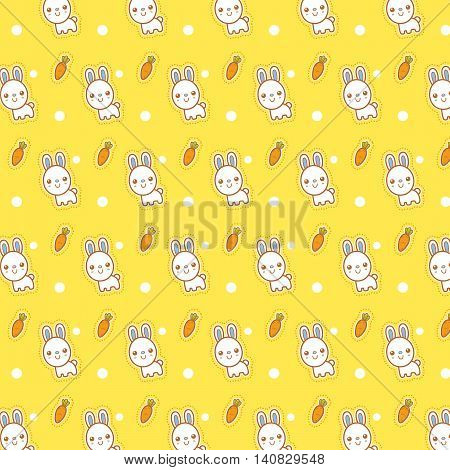 Vector illustration of Pattern - Rabbit Cartoon