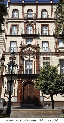 SEVILLE, SPAIN - September 13, 2015: Seville in Spain is home for a collection of gorgeous buildings flanking the streets with architectural gems, on September 13, 2015 in Seville, Spain