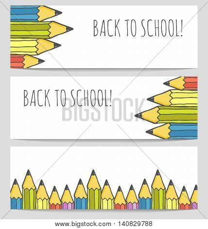 Back to school colorful banners set with pencils