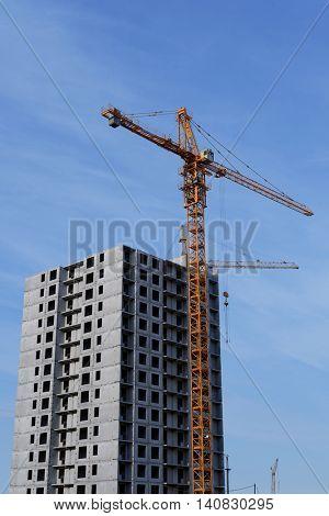 ST. PETERSBURG, RUSSIA - APRIL 24, 2016: New apartment buildings at Parashutnaya street. About 3 millions square meters of housing built in St. Petersburg in 2015