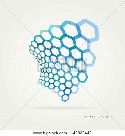 Abstract color wave hexagons template. Vector illustration