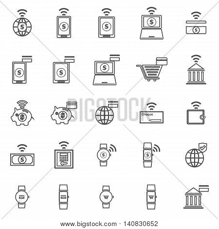 Fintech line icons on white background, stock vector