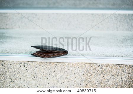 Lost wallet on staircase/ the street, balck leather wallet