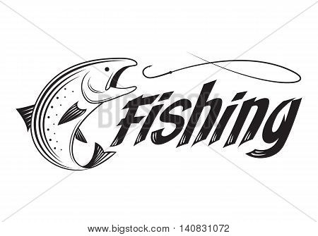 clip art graphic fishing on white background, vector