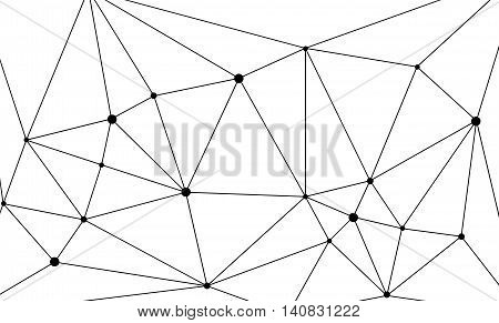 Geometric triangle mesh background with black circles. Monochromatic texture. Abstract polygonal geometric shape structure. Low poly minimal style art