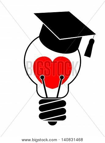 Light bulb with heart and graduation cap. Love education concept Isolated on White background.
