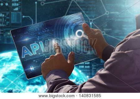 Internet. Business. Technology Concept.businessman Presses A Button Api On The Virtual Screen Tablet