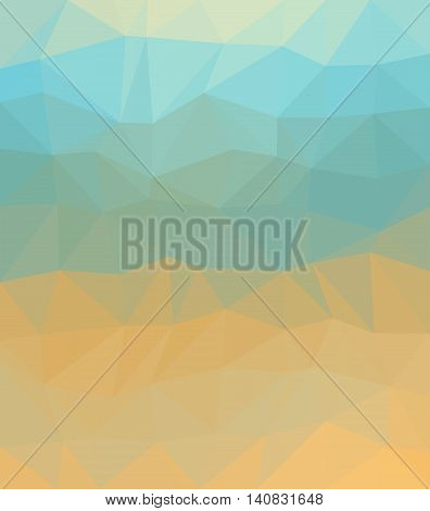 Polygonal background consist of triangles. Triangular design Origami style Mosaic. Crumpled triangle shaped wallpaper. Can be used as cover design book design and website background. In blue and ocher colors.
