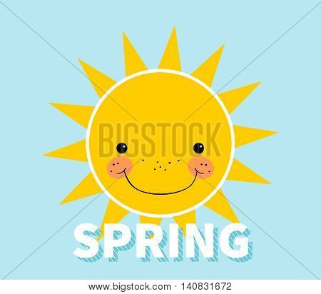 Cartoon spring background. Design concept with happy smiling sun. Spring theme.