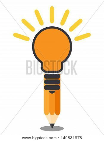 Vertical oriented pencil light bulb. Creative idea concept. Isolated on white background