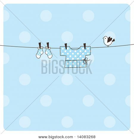 Baby boy arrival card with copy space