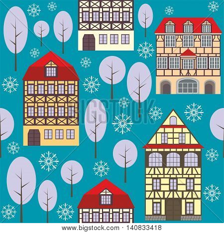seamless pattern with the image of old town houses, trees and snowflakes. winter cityscape.