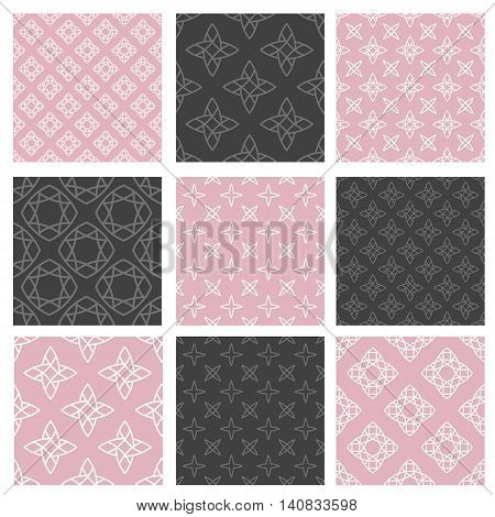 Set of nine vector seamless patterns in trendy linear style. Minimal vintage texture. Decorative background for cards or invitations