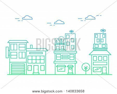 Vector illustration of linear houses with gradient
