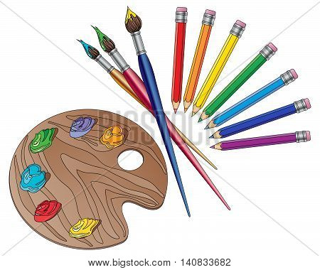 an illustration of art materials with brushes pencils and an artists palette with paints on a white background
