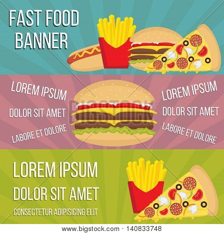 Vector fast food concept banners in flat style