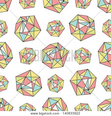 Vector eamless repeat pattern with polygonal shapes