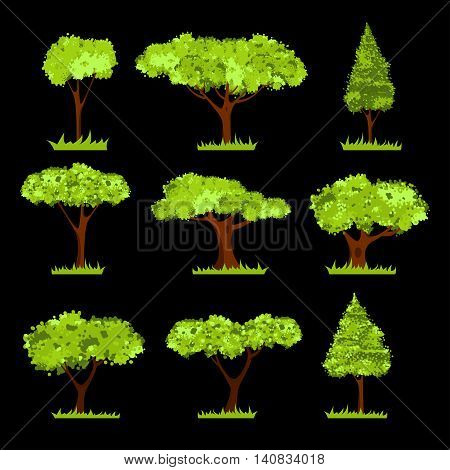 Set of different stylized trees. Various types and forms of trees. Vector Illustration. Isolated on black. Suitable for architect, game and design projects or ecology concepts.
