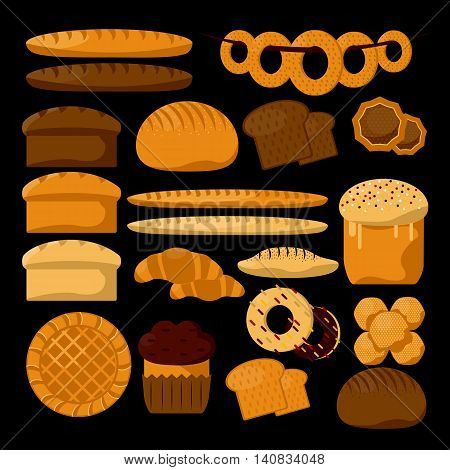 Various sorts of bread. Bakery or pastry product types. Vector icons set. Dough, cupcakes, sweet buns, cakes situateble for bakery shop. Vector Illustration. Food design elements.