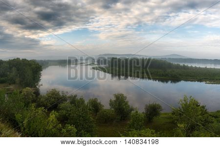 The ducts of the Yenisei River in the early morning. Siberia. Russia.
