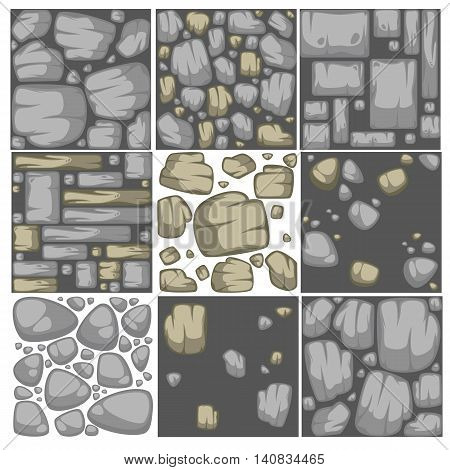 Abstract vector stone background set. Seamless pattern collection.