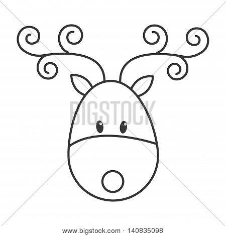 flat design single reindeer icon vector illustration
