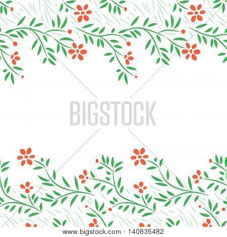 Red flowers horizontal frame seamless border on white, vector background
