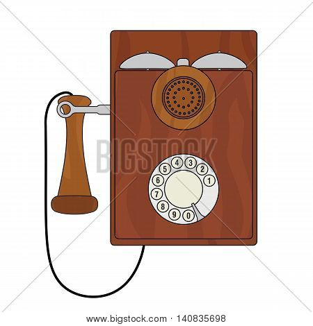 Old vintage cartoon styled wall phone with a rotary dialer.