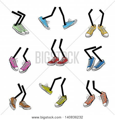 Cartoon walking feet. Step and sole sneaker clothing leg fashion cute and comic vector illustration
