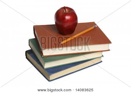 School Books and Red Apple