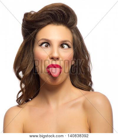 Portrait of young pinup girl isolated