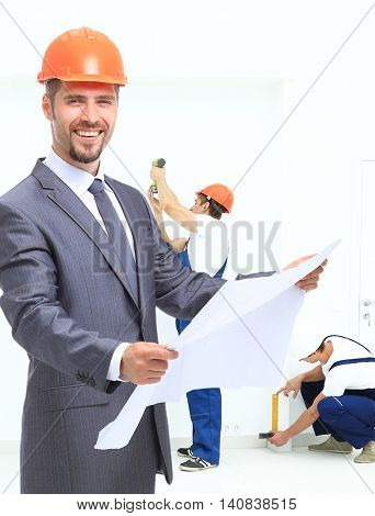 Architects working on construction project