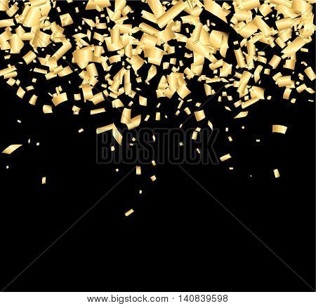 Black background with golden confetti. Vector illustration.
