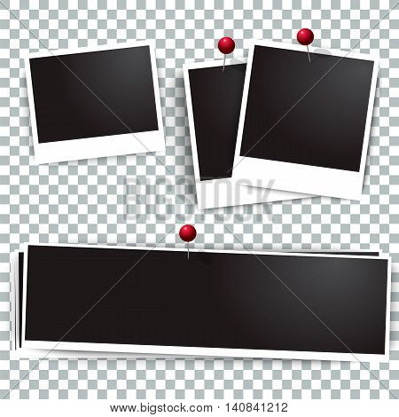 Photo polaroid frames on wall attached with pins. Photo frame and collection of retro photo picture. Vector illustration set. Transparent background.