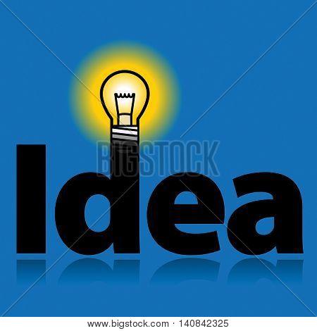 Light bulb with word - Idea, vector illustration