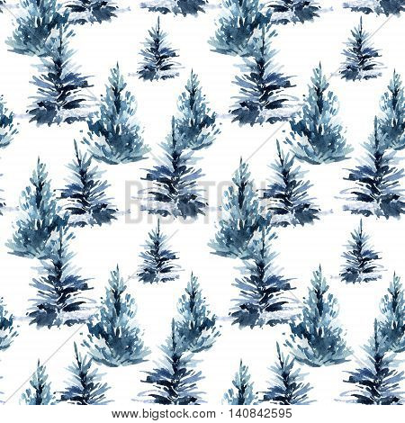 Watercolor christmas tree seamless pattern. Watercolour winter fir forest. Hand painted pine tree illustration on white background